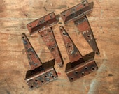 Vintage Set of 4 LARGE Metal Strap Hinges / Rusty Weathered Distressed Hinges / Rustic / Furniture Supply / Barn Door Hinges / Metal Hinges
