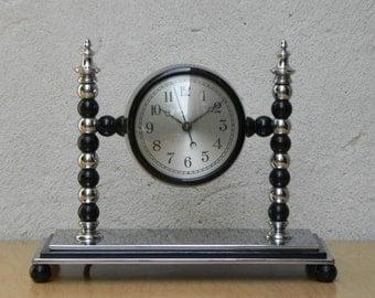 Very Heavy Art Deco Chrome Electric Mantel Clock