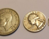 3 old silver coins English half crown, three pence, American quarter 1930s-40s
