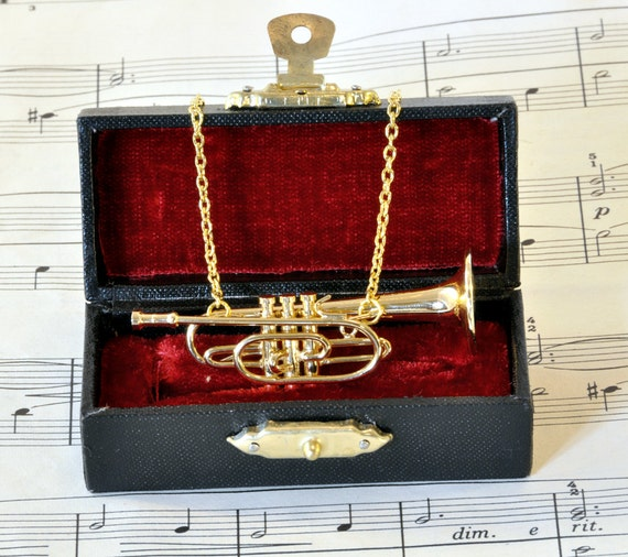 Cornet Necklace in Case, Music Necklace, Cornet Jewellery