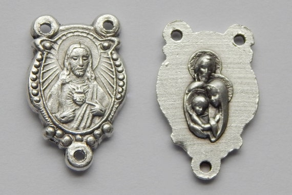 5 Rosary Center Piece Findings - 23mm Long, Sacred Heart of Jesus, Holy Family, Silver Color Oxidized Metal, Rosary Center, RC510