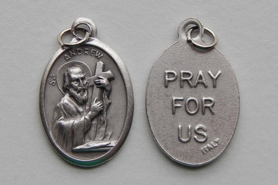 5 Patron Saint Medal Findings - St. Andrew, Die Cast Silverplate, Silver Color, Oxidized Metal, Made in Italy, Charm, Drop, RM1205