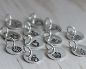 """tiny stamped design disc - 3/8"""" sterling silver disc - heart charm - cross charm - choose a design"""