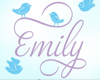 Personalized Girls Name Wall Decal with Cute Bird Wall Decals | Girls Name Bedroom Decal in Script Font | Emily (shown)