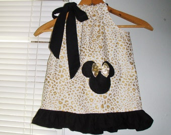 Minnie Mouse Dress  Gold Cheetah Sparkle Ruffled  pillowcase dress  3, 6,9,12,18 month 2t,3t,4t,5t,6,7