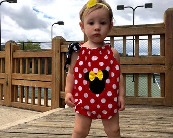 Minnie's  Red  Polka dots Bubble romper appliqued Disney clothing  3, 6, 12, 18 months