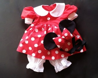 Minnie Mouse Dress, Bloomers and Ears with Bow sizes 18 mo, 2T, 3T, 4T, 5T