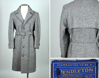 vintage PENDLETON mens tweed coat • belted gray wool trench