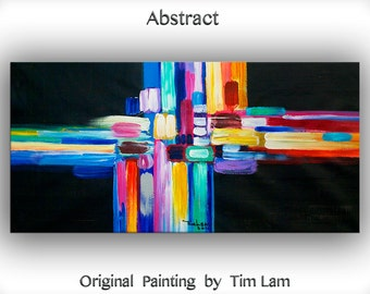 """Original Abstract Painting Wall Art Oil Painting 48"""" Canvas  Cityscape Original Modern Home Deco, Wall Hanging, Surreal Road by Tim Lam"""