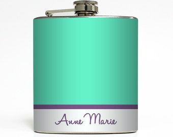 Personalized Whiskey Flask Colorblock Name Monogram Sorority Sister Women 21st Birthday Gifts Stainless Steel 6 oz Liquor Hip Flask LC-1355