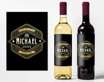 Custom Birthday Wine Labels Personalized Wine Bottle Stickers Happy Birthday Men 21st 30th 40th 50th Waterproof Printed Wine Labels WB-1050