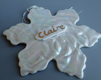 Porcelain Snowflake Ornament Personalized in Gold