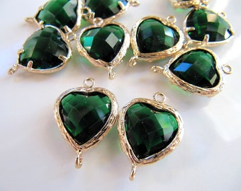 19mm Glass Link Connector Heart Charms Pendants, Gold Tone Brass with Emerald Green Gem, 19mm x 14mm, 2 Pieces, Clear Double Sided