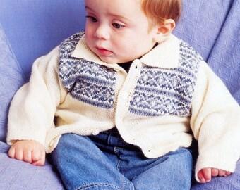 BABY Fair Isle Button Cardigan VINTAGE KNITTING Pattern Jaeger Knitting Pattern