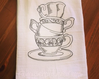 Stacked Teacups - Embroidered Flour Sack Dish Towel