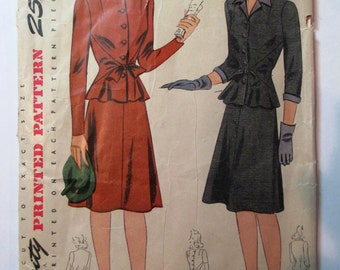 "Antique 1940's Simplicity Suit Pattern 4430 - size 34"" Bust"