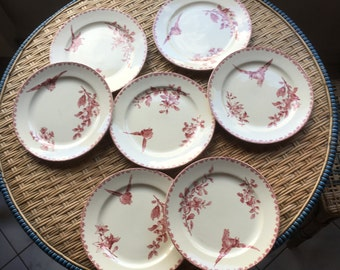 Vintage Antique French Country Cottage Red Transferware Plate