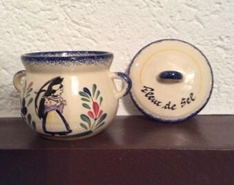 Vintage French Country Pottery Salt Dish, Fleur de Sel, Flower of Salt