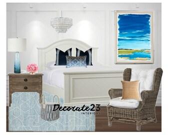 Coastal Bedroom Interior Design, E-Interior Design, Online Interior Design, Home Decor, Affordable Design Service, Mood Board