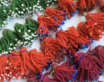 49 BEADED color tassels tribal ethnic kuchi american tribal costuming