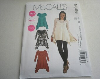 Pattern Ladies Knit Tunic Tops Sizes 8 to 16 McCalls 6398