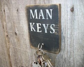 Man Keys Key Hook Rack Black Rustic Distressed