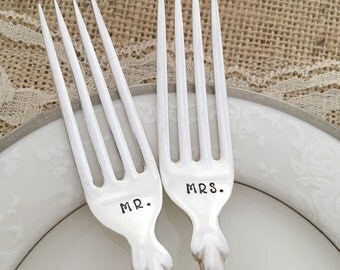 Mr. & Mrs. Forks, vintage wedding classic forks, hand stamped