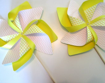 Paper Pinwheels Clearance Set of 2 Fancy Wave Pinwheels Party Favors Baby Shower Favors Birthday Decoration Table Centerpiece Wedding Favors