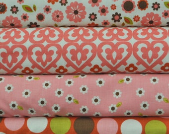 Indian Summer Cream 4 Fat Quarters Bundle by Zoe Pearn for Riley Blake, 1 yard total