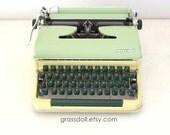 1959  Torpedo 18  Yellow and Green Typewriter Made in Western Germany, Mint Green Typewriter, Vintage Typewriter