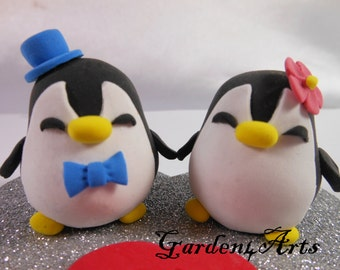 Wedding Cake Topper-Love Penguin Couple with Heart Base - SPECIAL FOR 2017