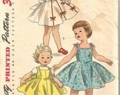 SALE 1950s Girls Full Skirt Dress Pattern with 4 Uncut Doll Clothes Patterns for Toni Walker Simplicity 1186 Size 6 Girls Sewing Pattern Dol