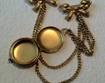 Vintage Miriam Haskell Photo Locket with Double Bow Chain Brooch Gold Plated Gilt SALE