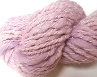 """Pink Mauve Yarn Bulky Handspun Alpaca and Wool Thick and Thin Hand Dyed 82 Yards (3 skeins avail.)   """" Orchid  """" Doll Hair Knitting Crochet"""