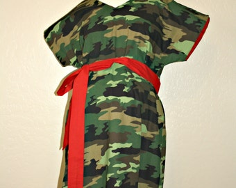 Ezekial Maternity Delivery Gown in Green Black Brown Camo Camouflage- Choose Lined or Unlined and Your Lining and/or Sash Color- Add a Robe