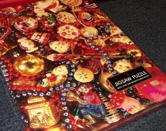 "Vintage 1985 Hallmark Cards Ambassador ""over 500 pieces"" vintage Christmas Ornaments Jigsaw puzzle MISP MINT"