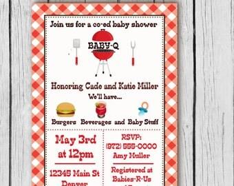 Baby Q Invitation - Baby Q Shower invites, Baby Shower Barbecue, Baby Shower BBQ, Baby Shower Invite, Invite, Invites