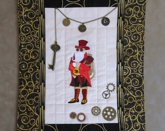 Steampunk Christmas Santa Claus Embroidered Art Quilt with  fringe