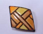 Sale 20 Colorful enamel on metal brooch  vintage 1970's