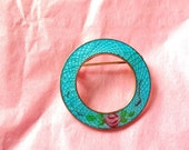 50% Blue Pink Enamel Rose Guilloche Pin Circle Brooch Scatter Pin