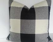 BOTH SIDES / Black Grey and Natural/Ivory Buffalo Check Pillow Cover / Plaid Pillow / Lumbar / Square and Euro Shams