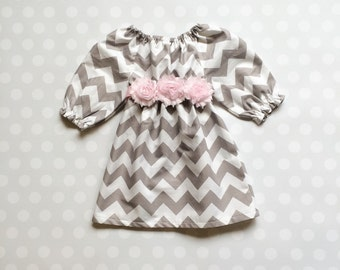 Gray and Pink Chevron Dress - Gray Chevron Dress - Girls Chevron Dress - Girls Dress - Girls Dresses - Baby Girl Dresses - Baby Girl Dress