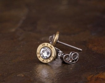 Stud Earrings / 25 Auto Brass Bullet Head Stud Earrings ANY-25-B-SEAR / Bullet Earrings / Stud Earrings / Brass Earrings / Earrings