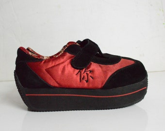 90's Red and Black Satin PLATFORM Sporty Sneaker Wedges. SUEDE Leather size - 7