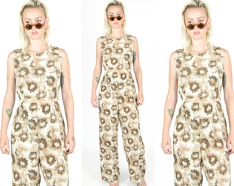 1990's FLORAL BROWN TAN Jumpsuit. . 1990's Grunge Mod Oversized Size Small Pantsuit