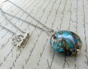 Bohemian Silver Necklace, Turquoise Necklace, Natural Stone Silver Necklace