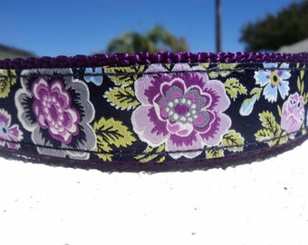"Sale Dog Collar 1"" wide Side Release buckle Bouquet - no martingale limited ribbon"