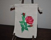 Spring Flowers Gift Muslin Hand Painted Gift Wrap Treat Bags