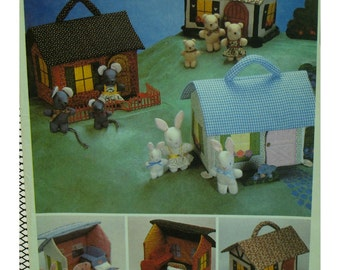 Miniature Fabric Doll House Pattern, Stuffed Animals, Bears, Mice, Bunnies, Furniture, Tote, Childs Toy McCalls 8346 UNCUT