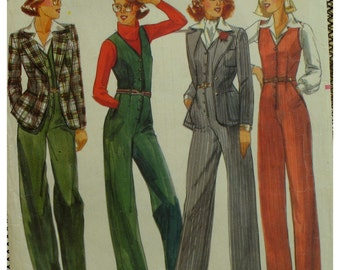 """Fitted Jumpsuit Pattern, Button Front, V-neck, Sleeveless, Side Pockets, Fitted Unlined Jacket, Butterick No. 5567 Size 10 (Bust 32.5""""83cm)"""